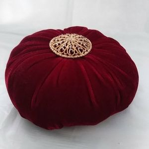 Other - Pincushion Ruby Red Velvet Vintage Brooch Pin